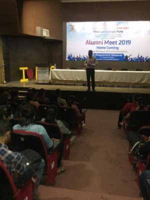 Audience listening to our Founder's experience at Alumni Meet, BhartiyaVidyaPeeth - New Law College